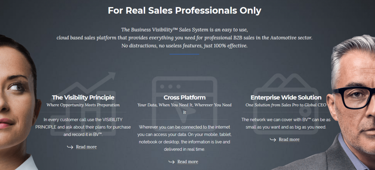 Business Visibility™ Sales System main features
